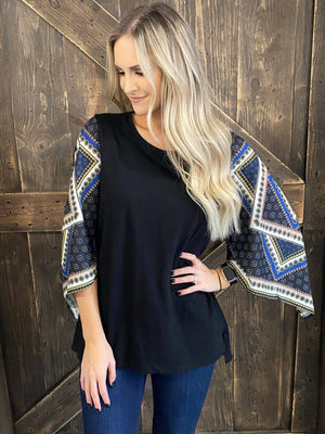 Printed Contrast Sleeve Top