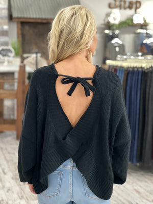 Open Back Knit Sweater with Tie