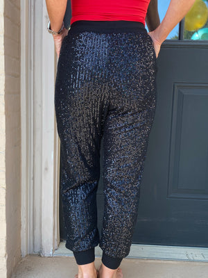 Sequin Jogger Pants in Black