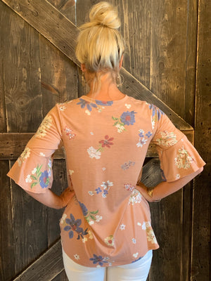 Floral Front Knot with Bell Sleeves