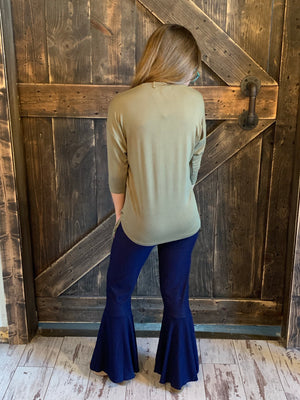 Dark Denim Bell Bottom Pants