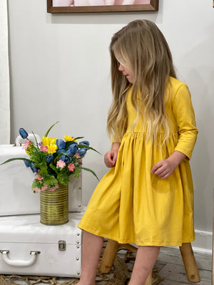Solid 3/4 Sleeve Dress in Mustard