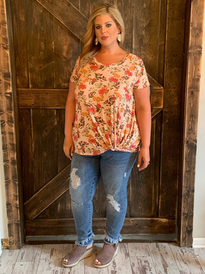 Floral Print Top with Front Knot