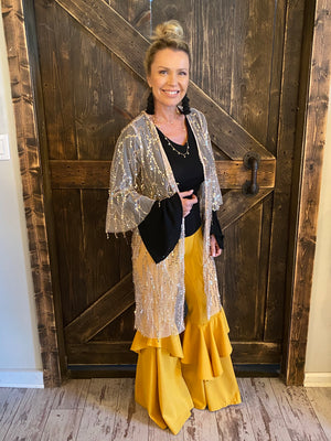 Bell Sleeve Sequin Kimono in Gold