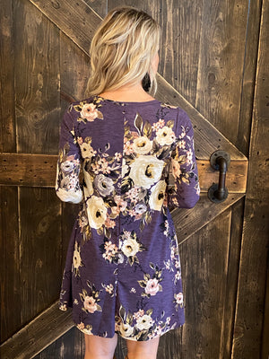 Long Sleeve Floral Swing Dress with Pockets
