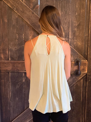Crochet Lace Detail Tank Top with Keyhole