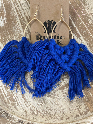 Macrame Tassel Earrings in Blue