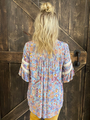 Floral Print Babydoll Tunic Top - Blue