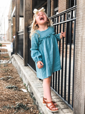 Textured Ruffle Dress in Blue