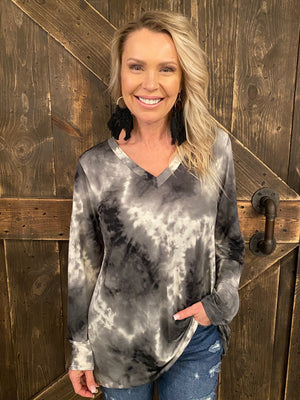 V Neck Tie Dye Top in Black