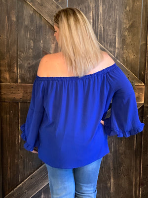 On/ Off Shoulder Top with Ruffled Bell Sleeves