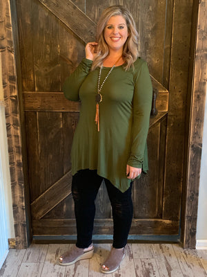 Long Sleeve Asymmetrical Top in Olive