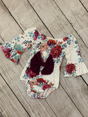 Floral Bell Sleeve Onesie with Front Bow