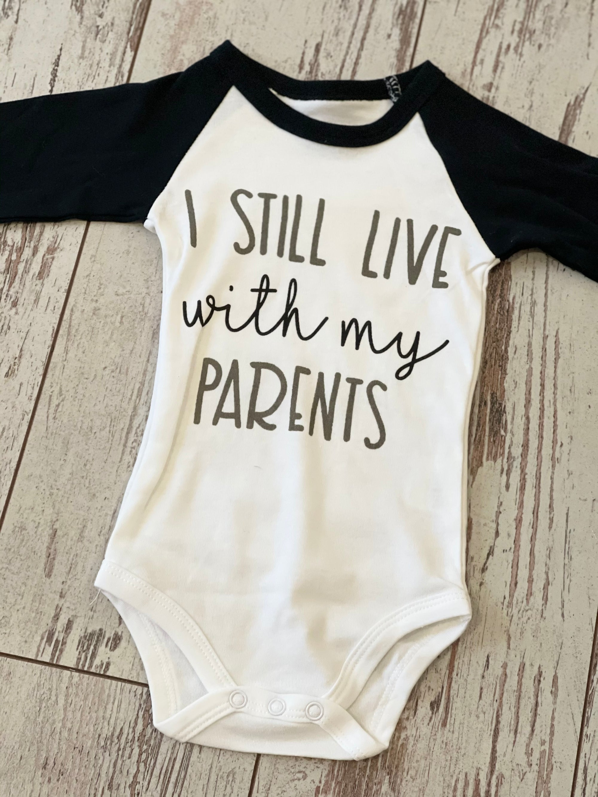 Live With My Parents Raglan Bodysuit