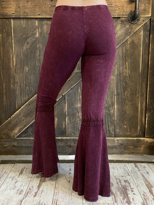 Washed Waffle Bell Bottom Flare Pants in Burgundy