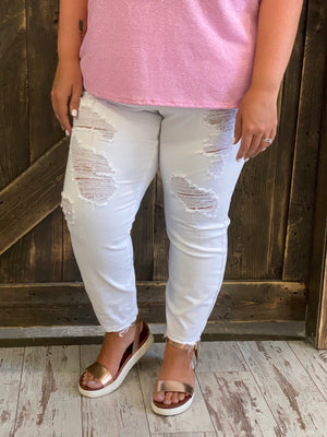 White Distressed Boyfriend Jeans