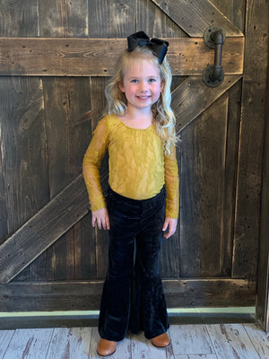 Long Sleeve Lace Leotard in Mustard