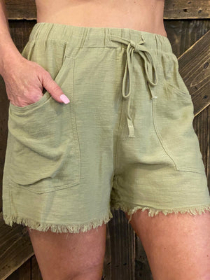 Frayed Hem Shorts with Drawstring in Sage