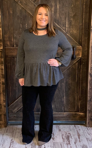 Mock Neck Top with Bubble Sleeves
