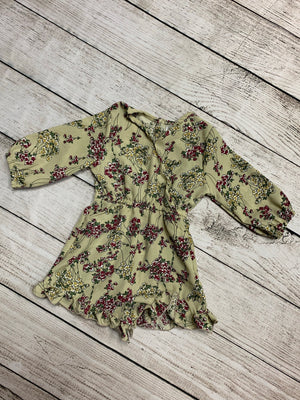 Long Sleeve Floral Romper in Sage