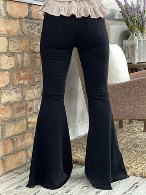 Distressed Bell Bottom Jeans in Black