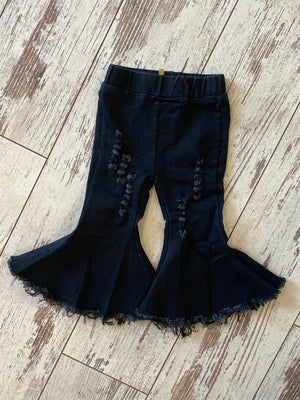 Black Bell Bottom Jeans with Raw Hem