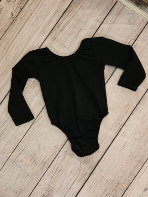 Low Back Long Sleeve Onesie in Black