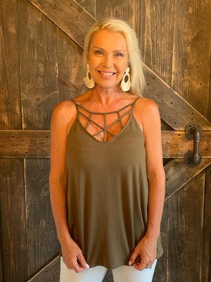 Strappy Neck Tank Top in Olive