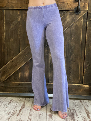 Washed Bell Bottom Flare Pants in Lilac