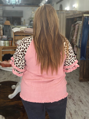 Leopard Printed Sleeve Top with Frayed Hem