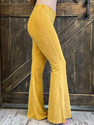 Mineral Wash Bell Bottom Pants in Amber