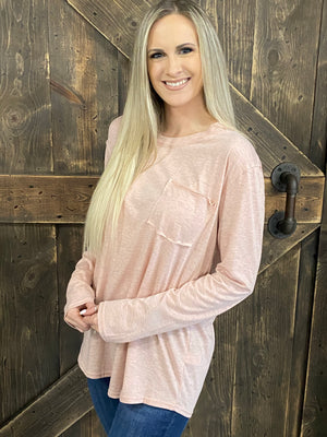Solid Slouchy Top with Pocket - Light Pink