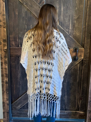 Crochet Knit Fringe Sweater in Natural
