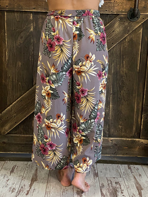 Cropped Wide Leg Tropical Print Pants with Waist Tie