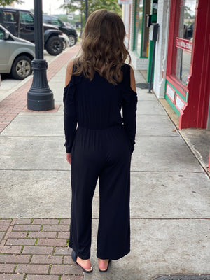 Solid Cold Shoulder Jumpsuit - Black