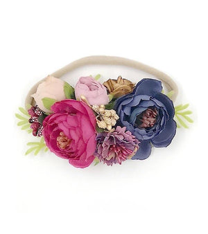 Purple & Navy Floral Nylon Headband