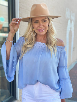 Textured Bell Sleeve Off Shoulder Top