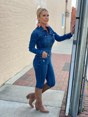 High Rise Skinny Jean Denim Jumpsuit