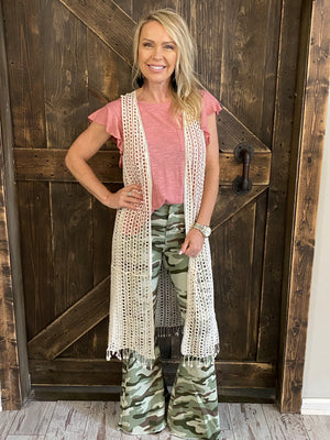 Open Front Crochet Duster Vest in Natural