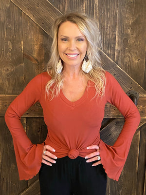 Ribbed Knit Bell Sleeve Top in Rust