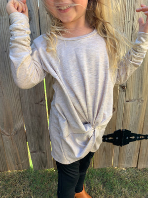 Long Sleeve Top with Front Knot in Oatmeal