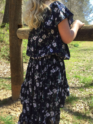 Flutter Top & High Low Ruffled Skirt in Navy