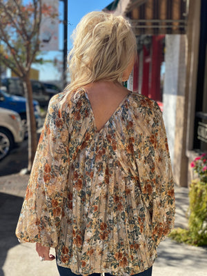 Floral Bubble Sleeve Top