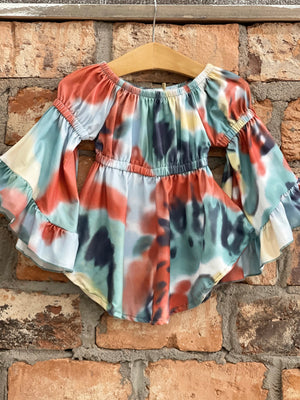 Tie Dye Bell Sleeve Tunic Dress in Rust Mix