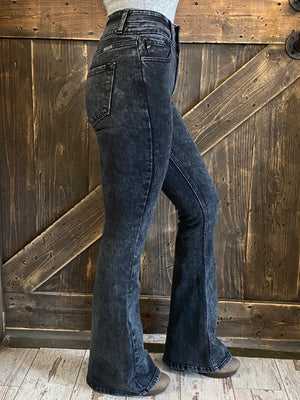 High Rise Double Button Flare Jeans in Black