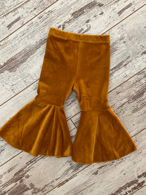 Velvet Bell Bottom Pants in Camel