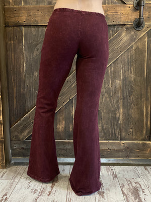 Mineral Wash Bell Bottom Pants in Burgundy