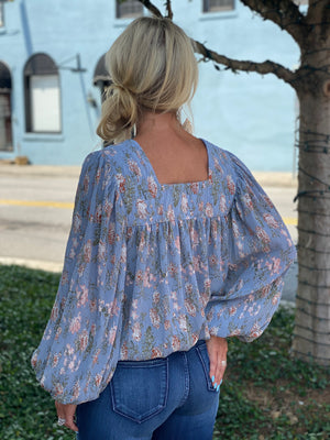 Chiffon Floral Printed Bubble Sleeve Top