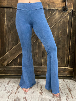 Mineral Wash Bell Bottom Pants with Pockets in Light Blue