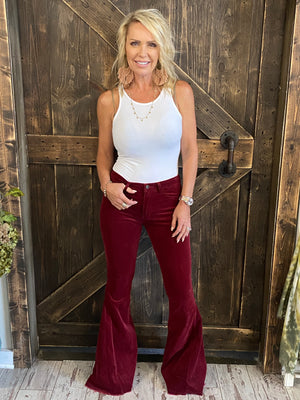 Corduroy Bell Bottom Pants with Raw Hem in Burgundy